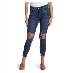 Free People Ripped High Waisted Ankle Skinny Jean